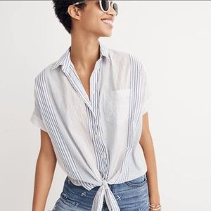 Madewell Short Sleeve Tie Front Top Rawley Stripe